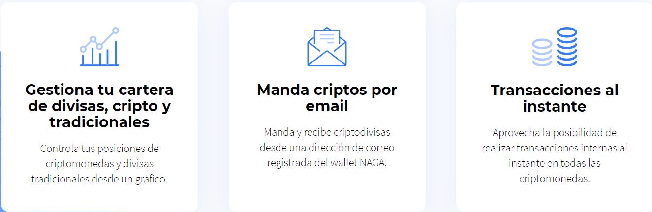 Naga Wallet envia por email criptodivisas
