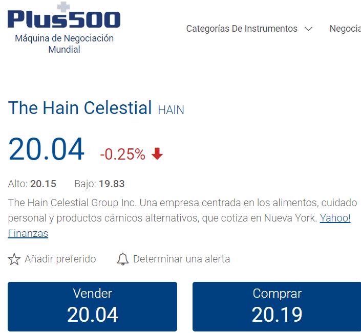 Plus500 The Hain Celestial Group