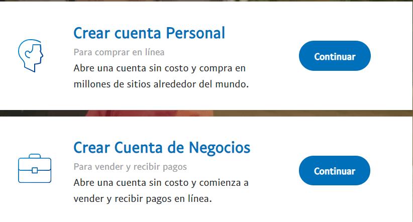 cuenta personal o de empresa payapal