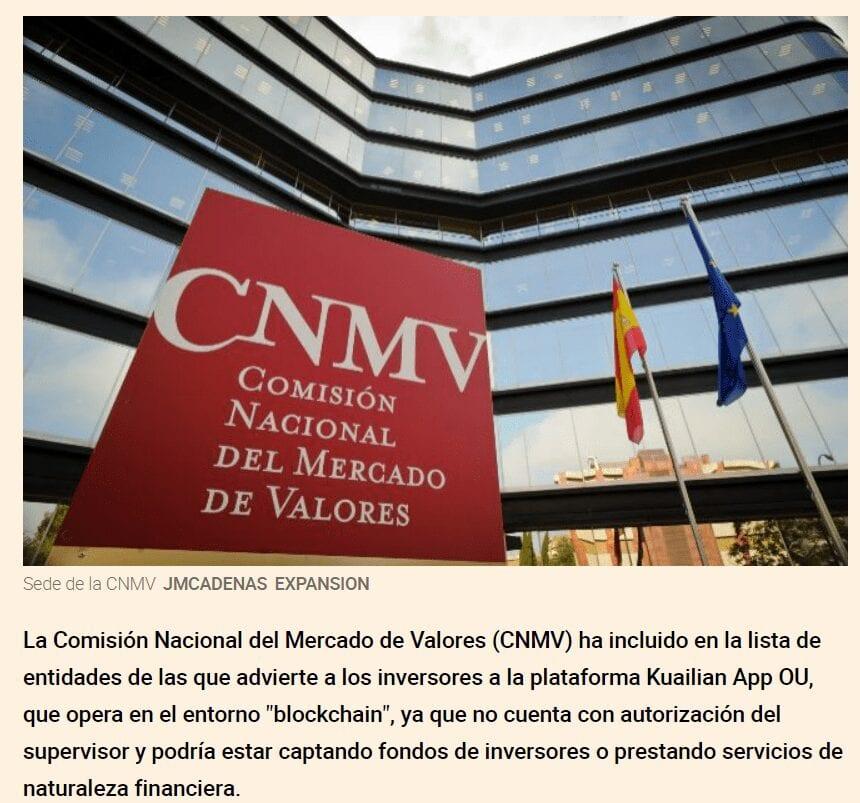CNMV advierte de que Kuailian es un chiringuito financiero